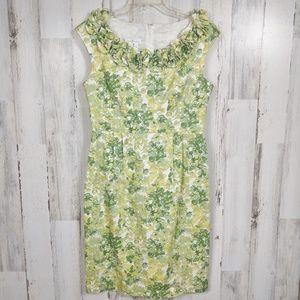 🌿 Floral Ruffle Neck Knee Length Shift Dress 10